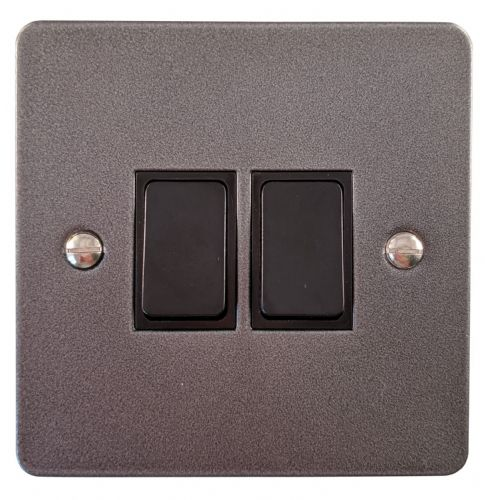 G&H FP2B Flat Plate Pewter 2 Gang 1 or 2 Way Rocker Light Switch